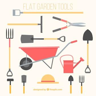 Herramientas de jardinería planas