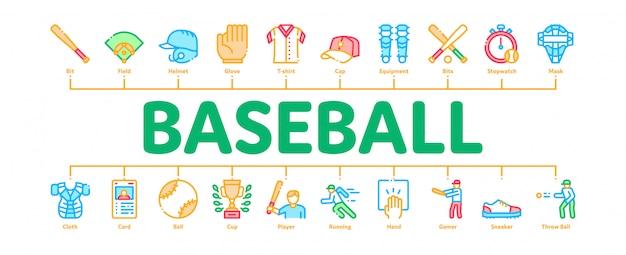 Herramientas de juego de béisbol banner de infografía mínima