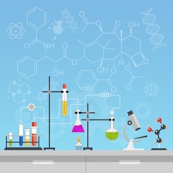Herramientas de laboratorio de ciencias químicas.