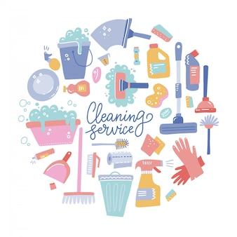 Herramientas de limpieza de composición redonda. conjunto de equipos de limpieza.