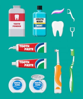 Herramientas de limpieza dental. productos de higiene bucal