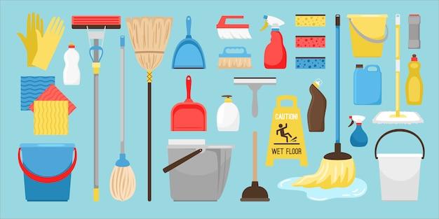 Herramientas de limpieza y desinfección.