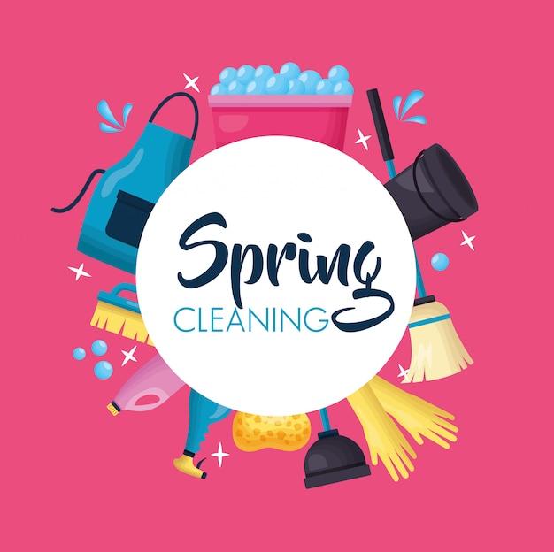 Herramientas de limpieza de primavera