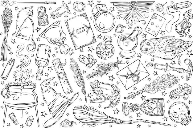 Herramientas mágicas dibujadas a mano.