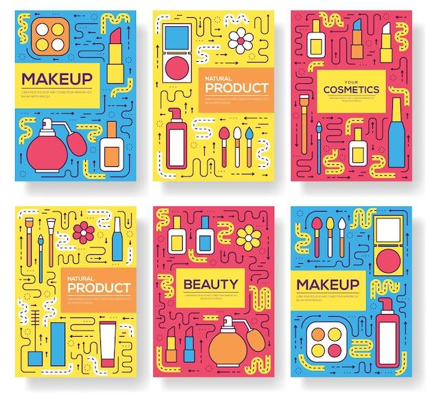Herramientas de maquillaje de línea fina modernas. equipo cosmético de infografía para la belleza. iconos en blanco aislado.