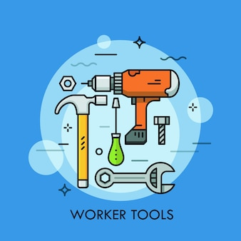 Herramientas y máquinas manuales y eléctricas: destornillador, llave inglesa, taladro eléctrico, martillo, perno y tuerca. concepto de trabajo manual y automatizado.