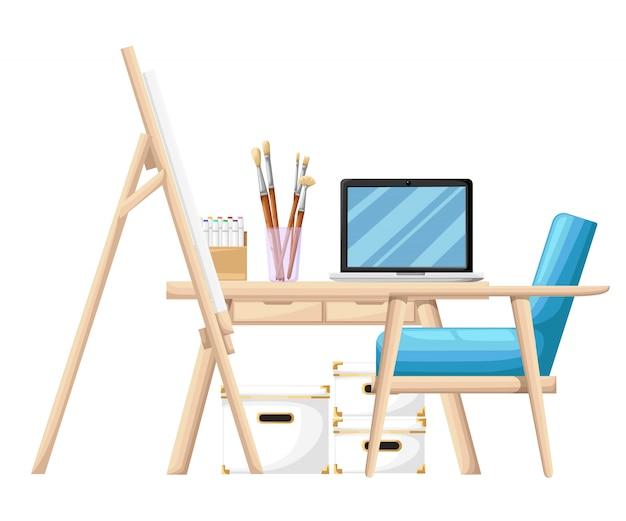 Herramientas y materiales de estilo de dibujos animados para pintar pinceles, tubo de pintura y cuaderno en la mesa con ilustración de sillón azul en la página del sitio web de fondo blanco y aplicación móvil