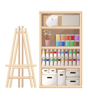 Herramientas y materiales de estilo de dibujos animados para pintura y cuaderno de bocetos de criaturas, pinceles, paleta de caballete y tubo de pintura, ilustración en la página del sitio web de fondo blanco y aplicación móvil