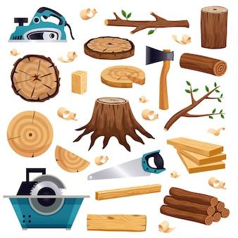 Herramientas de materiales para la industria de la madera y conjunto plano de producción con troncos de troncos de árboles tablones sierra