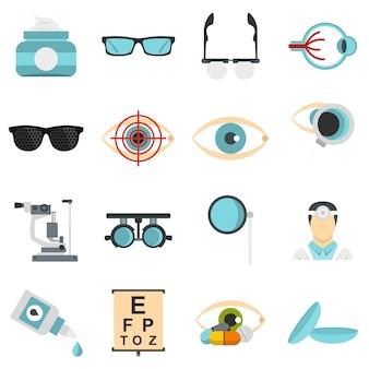 Herramientas de oftalmólogo establecen iconos planos