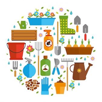 Colecci n de insectos y flores descargar vectores gratis for Imagenes de jardineria gratis