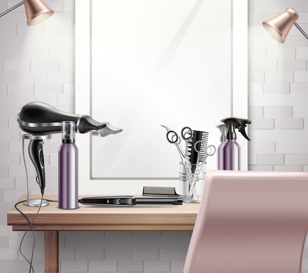 Herramientas de peluquería para peinado y composición de corte de pelo con espejo realista