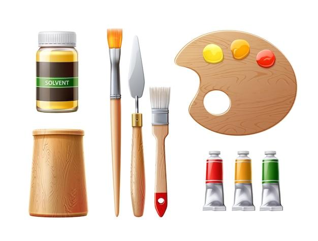 Herramientas de pintor realistas tubos de pintura al óleo pinceles espátula con botella de disolvente herramientas de artista