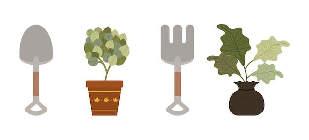 Herramientas de plantas y concepto de jardinería