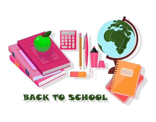 Herramientas de regreso a la escuela. plantilla de vector conjunto de suministros escolares de fondo