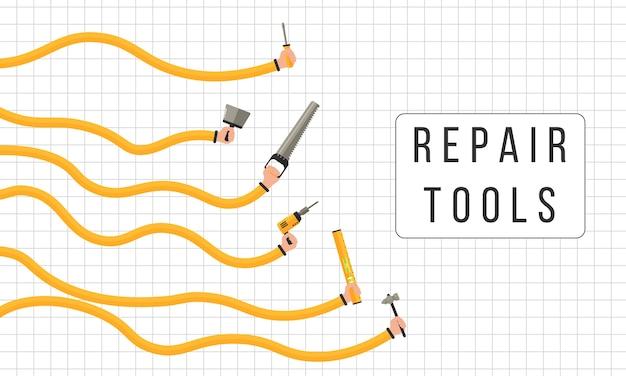 Herramientas para reparar. las manos humanas sostienen herramientas de trabajo.