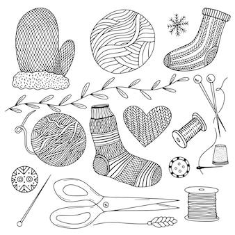 Herramientas de tejer dibujadas a mano