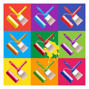 Herramientas de trabajo: brocha para pintar y brocha giratoria. conjunto de colores estilo popart
