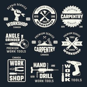 Herramientas de trabajo emblemas monocromos