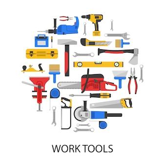 Herramientas de trabajo en forma redonda con sierras, taladros, llaves, alicates, hacha, amoladora, aislado