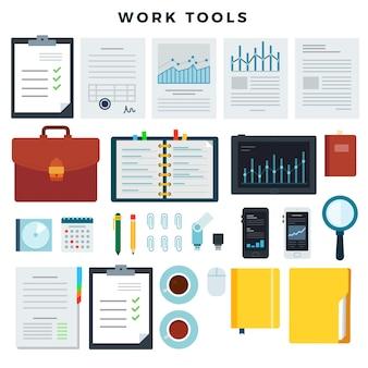 Herramientas de trabajo de oficina. papelería y elementos de trabajo empresarial, conjunto. dispositivos móviles y documentos. ilustracion vectorial