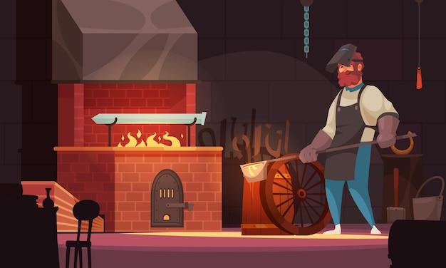 Herrero en taller de forja de hoja de espada artesanal personalizada en ladrillo