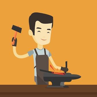 Herrero trabajando metal con martillo en el yunque.