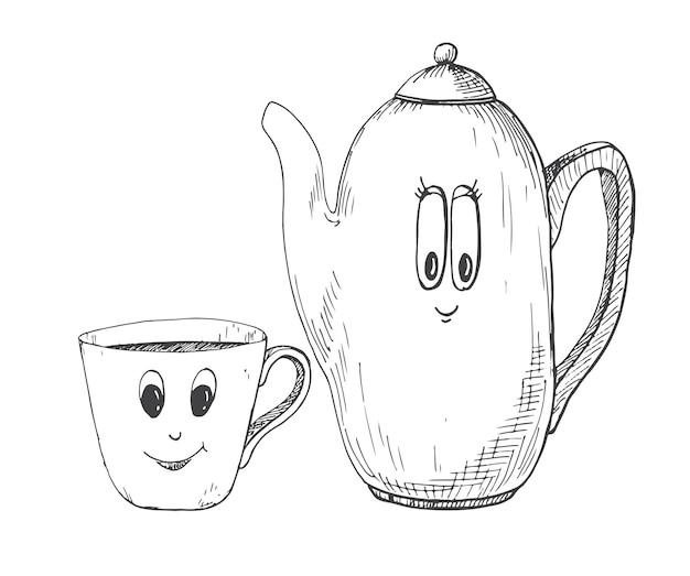 Hervidor de agua dibujado a mano y una taza en el estilo de dibujos animados. ilustración de vector de un estilo de dibujo.