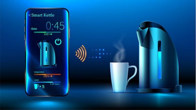 Hervidor de agua inteligente está sobre la mesa. el teléfono inteligente controla el hervidor inteligente a través de wifi
