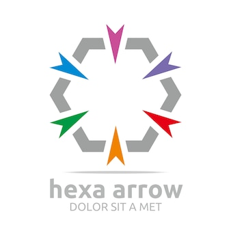 Hexa arrows logo design
