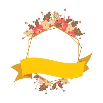 Hexagon polygon ribbon banner boda de flores florales