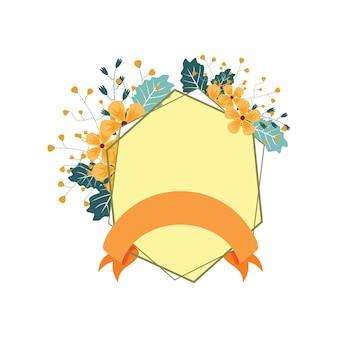 Hexagon ribbon banner floral flower boda decorativa
