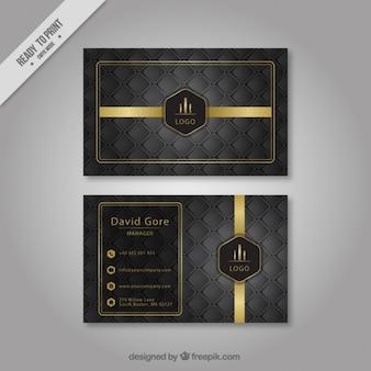 Hexagonal tarjeta gris empresa con detalles dorados