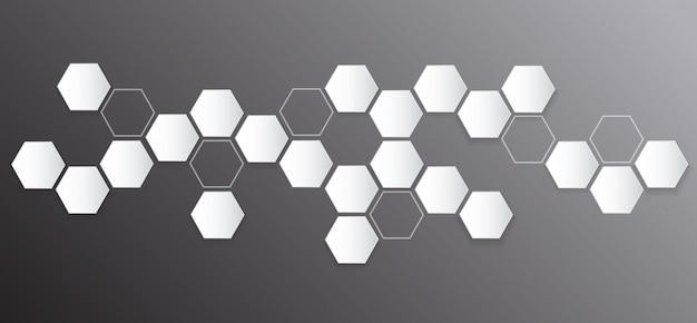 Hexágono abstracto y fondo del espacio