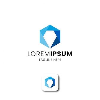 Hexágono abstracto con plantilla de diseño de icono de logotipo de forma de diamante