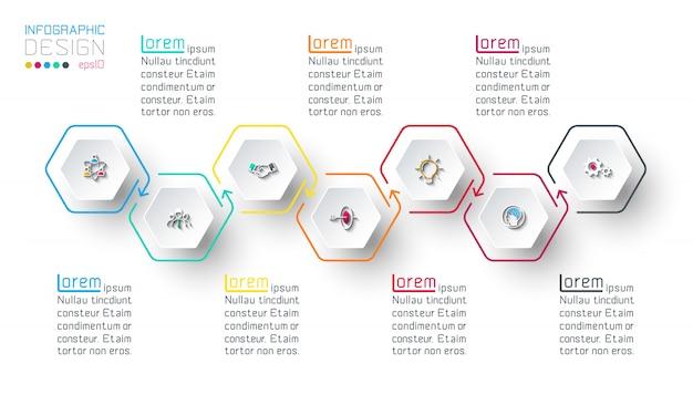 Hexágono inforgraphics sobre gráficos vectoriales.