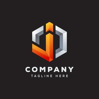 Hexágono letra j logo diseño premium vector