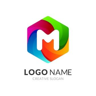 Hexágono + logotipo inicial de la letra m