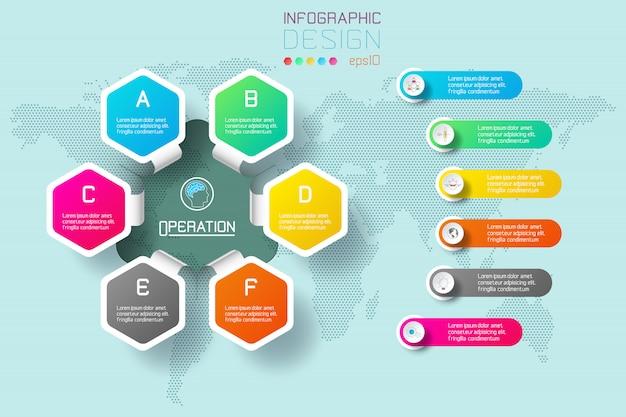 Hexágono de negocios etiquetas barra de círculos infografía forma.