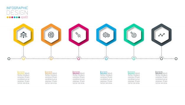 Hexágono de negocios etiquetas barra de grupos de infografía forma.