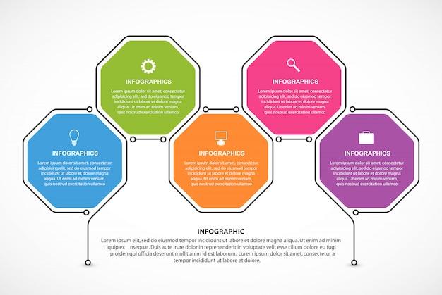 Hexágono opciones infografía plantilla.