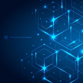 Hexágonos abstractos con fondo azul claro láser