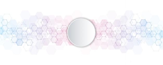 Hexágonos abstractos con fondo de círculo en blanco