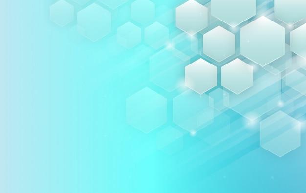 Hexágonos azules de fondo. fondo futurista