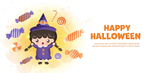 Hfeliz halloween con linda bruja y caramelos en estilo acuarela.
