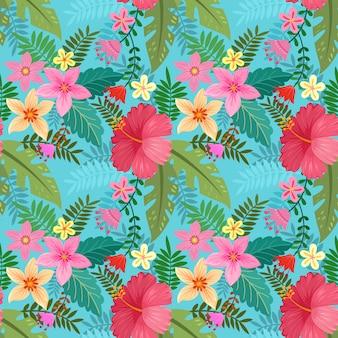 Hibisco colorido dibujado a mano flores de patrones sin fisuras.