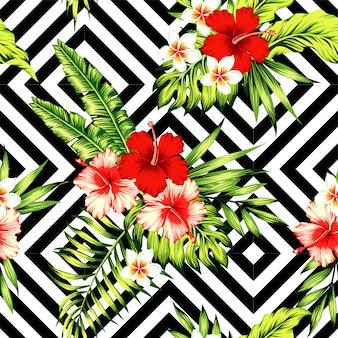 Hibisco y hojas de palmera patrón tropical, fondo geométrico blanco y negro