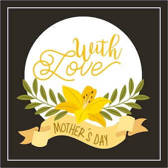Hibiscus flowers leaves ribbon with love mothers day