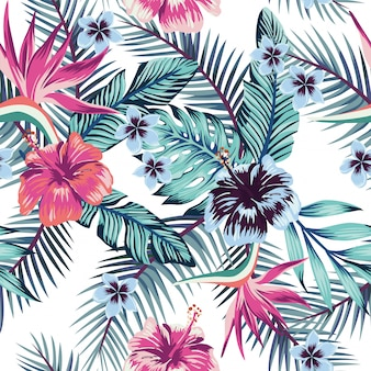 Hibiscus plumeria deja papel tapiz de patrones sin fisuras
