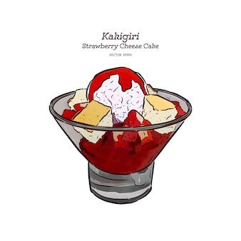 Hielo de afeitado de fresa o kakigori con torta de queso y helado, dibujo de boceto a mano.